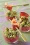 Mousseline de betterave, salade de févettes et magrets fumés