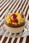 Crémeux de marron, ganache chocolat et fruits caramélisés à la vanille