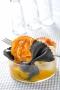 Farfalle noires et blanches à la crème de potimarron, pancetta grillée